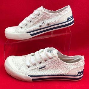 White Rocket Dog Lace Tennis Shoes Cotton Eyelet